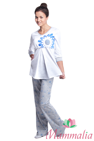 Mammalia пижама для беременных и кормящих синий цветок (туника+брюки ... 7f464185809