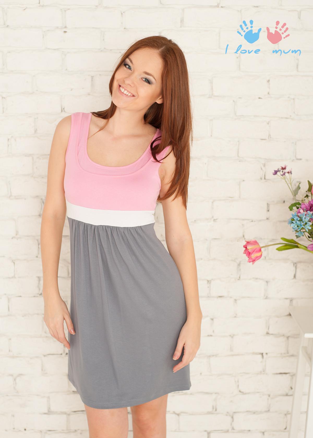 Серо-розовое платье фото