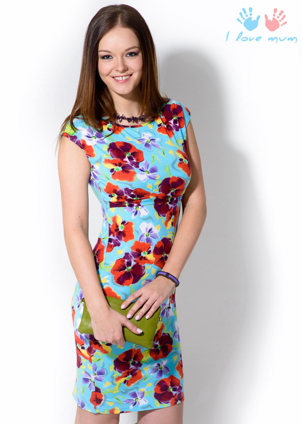 Элегантное и нарядное летнее платье не оставит равнодушной ни одну кормящую  маму. Яркий цветочный принт прекрасно маскирует