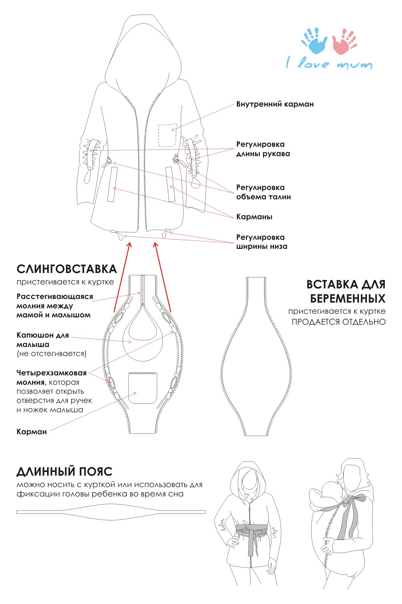 МК вставка на куртку для беременных. ДОПОЛНИЛА - Зимние