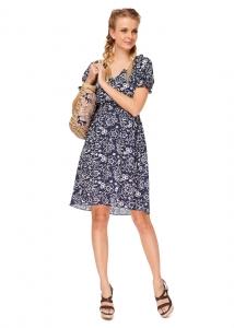 """Платье """"Шарлотта"""" синее с цветами для беременных и кормящих Летние платья и другая одежда для беременных женщин и кормящих грудью мам — в широком ассортименте в интернет-магазине МамаМия. Можно купить их с доставкой по городу Минск или пересылкой по Белар"""