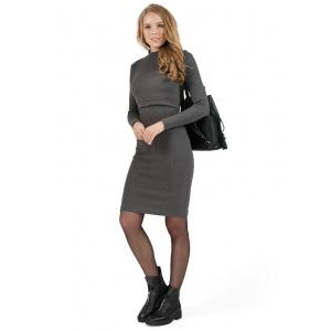 """Платье для беременных и кормящих """"Мадлен"""" т.серый меланж"""
