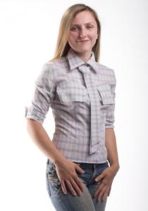 Одежда для кормления. Рубашка с карманами-клапанами и галстуком-поясом. Нежный фиолет