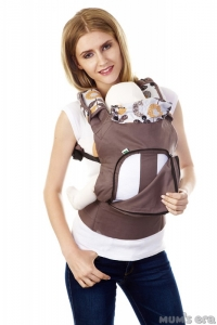"""Эргорюкзак (слинг-рюкзак) купить в Минске можно через интернет-магазин Мама Мия бай, Рюкзак-переноска """"Цветы"""" с вентилируемой спинкой. Цвет: коричневый"""