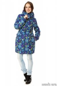 Зимняя куртка 3 в 1 «Герда» индиго/цветы для беременных женщин и слингоношения.Под заказ.