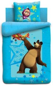 Купить детское постельное белье Непоседа в Минске, спальное белье в детскую, Детские комплекты постельного белья в интернет-магазине МамаМия, Комплект постельного белья «Полет» (коллекция Непоседа «Маша и Медведь» для девочек), 1,5 спальный