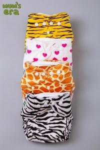 """Многоразовый подгузник """"Mum's Era"""" (+ 2 вкладыша в комплекте). Зебра, Жираф, Тигр."""