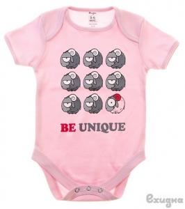 "Боди детское ""Be unique"", розовое, кор. рукав"