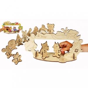 """Деревянная игрушка """"Детский театр"""". Набор Woody с героями 5 сказок и сценой."""