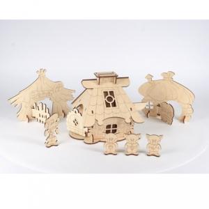 """Деревянная игрушка-конструктор Сказка """"Три поросенка"""". 42 элемента."""