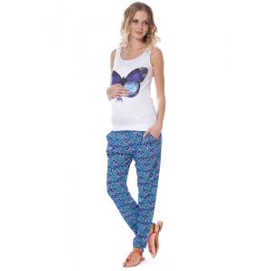 Брюки-шаровары  БШ01 голубые с ромбами цветами для беременных