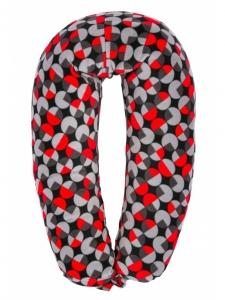 Подушка для беременных и кормления грудью «40 недель»,серо-красный. (170см)