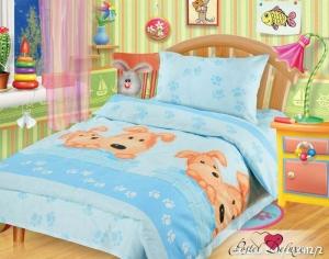 Комплект белья в детскую кроватку «Собачки» (ТМ «Непоседа»),голубой (арт.264494)