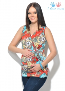 """Блуза """"Серена"""" орнамент коралл для беременных и кормящих"""