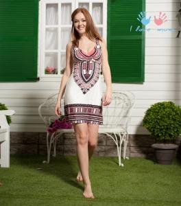 """Сарафан """"Пальма-де-Майорка"""" бело-коралловый для беременных и кормящих"""