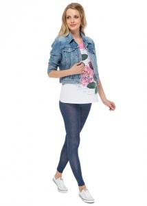 Леггинсы ЛВ04 синий джинс для беременных