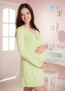 """Ночная сорочка """"Гренландия"""" фисташковая для беременных и кормящих (и в роддом)"""