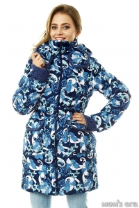 Зимняя куртка 3 в 1 «Герда» деним/ирисы для беременных женщин и слингоношения.