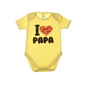 "Боди детское ""I love Papa"", желт  короткий рукав"