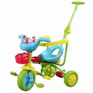 BABY LAND TS3310 Велосипед детский трёхколёсный с ручкой для мамы (толкач)