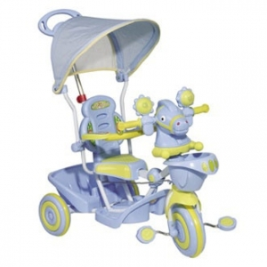 BABY LAND TS4237C- 2РС Велосипед детский трёхколёсный (толкач) с ручкой для мамы и тентом от солнца
