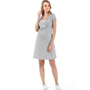 Платье для беременных и кормящих мам «Лариса» белый/серый меланж