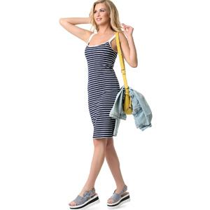 Сарафан для беременных и кормящих мам «Лейла» синий белый