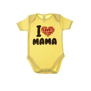"Боди детское ""I love Mama"", желт  кор.рукав"
