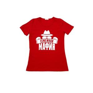 """Футболка женская """"Семейная мафия"""", красн."""