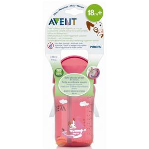 Avent Чашка с трубочкой 340 мл розовая арт.83420