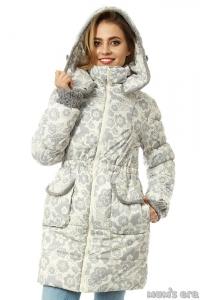 Зимняя куртка 3 в 1 «Герда» цветы/милки для беременных женщин и слингоношения Под заказ