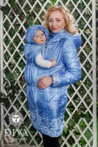 Слингокуртка демисезонная, Diva Outerwear Azzurro Mare, куртка для беременных, куртка 4в1, носить за спиной, заспинное ношение, красивая куртка, купить в МИнске, купить в Гродно, shelter
