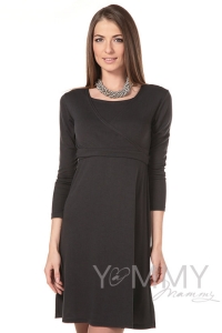 Платье на запах графит для беременных и кормящих мам арт. 301.2.22  Y@mmyMammy