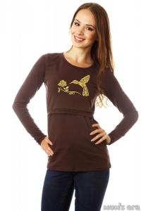 """Лонгслив """"Colibri"""" шоколад для беременных и кормящих грудью мам"""