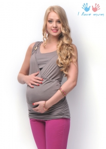"""Блуза """"Ника"""" коричневая для беременных и кормящих"""