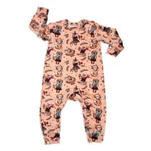 "Детский комбинезон (пижама) ""Лисички"", персик"