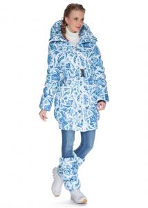 Зимняя куртка для беременных и слингоношения «Исландия», льдинки на белом