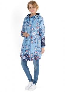 """Куртка демис. 2в1 """"Симона"""" цветы на голубом для беременных"""