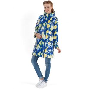 """Куртка демис. 2в1 """"Оливия"""" желтые цветы на синем для беременных"""