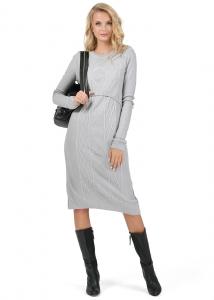 """фото Вязаное платье  для беременных и кормящих """"Шарлиз"""" серый меланж"""