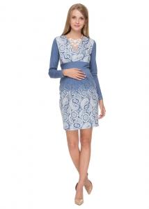 """Платье """"Жасмин"""" голубое с пэйсли для беременных и кормящих"""