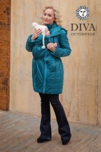 Слингокуртка зимняя Diva Outerwear Azzurro Mare ношение спереди