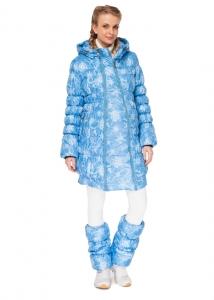 """Куртка 2в1 зимн. """"Юта"""" снежинки на бирюзе"""